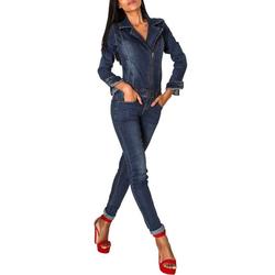 Nina Carter Jumpsuit 2958 Damen Jeans Hosenanzug blau 36