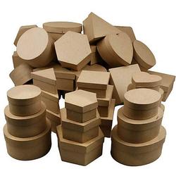 Pappmaché-Schachteln, D: 10-18 cm, H 5-7,5 cm, 72 Stück