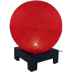 Guru-Shop Tischleuchte Kugel Tischleuchte mit MDF Ständer aus.. rot