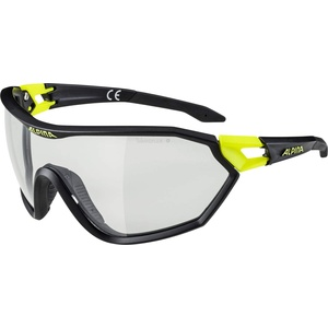ALPINA S-WAY VL+ Sportbrille, Unisex – Erwachsene, black matt-neon yellow, one size