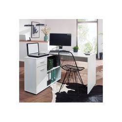 Wohnling Schreibtisch WL5.305, Design Eckschreibtisch mit Regal Weiß 120 x 75,5 x 106,5 cm Moderner Büro-Schreibtisch Computer-Tisch Arbeitszimmer Winkelschreibtisch Home Office