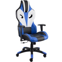 TecTake Premium Racing Bürostuhl Optimus schwarz/blau/weiß