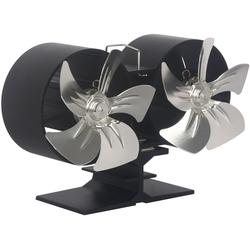 EL FUEGO Ventilator für Kaminöfen, Doppelrotor schwarz