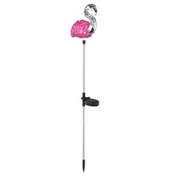 LED Solar Garten Steck Leuchte Flamingo Pink KristallLampe Hof Beleuchtung Tier Figur 33214-12