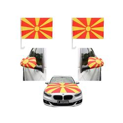 Sonia Originelli Fahne Auto Fan-Paket Haubenfahne Fensterfahnen Spiegelfahnen Magnetflaggen Nordmazedonien North Macedonia, Fanartikel für das Auto in Nordmazedonien-Farben Fanset-10XL