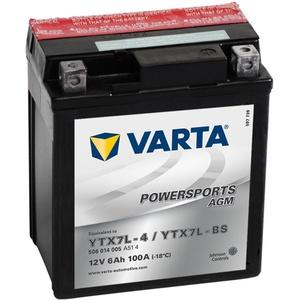 58009 Varta 506014005A514 Powersports AGM Motorradbatterie, 12 V, 6Ah, YTX7L-BS