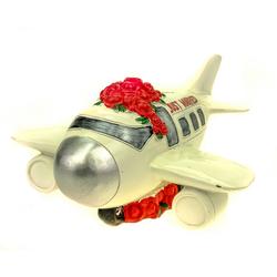 Udo Schmidt Bremen...das Original Spardose Spardose Flugzeug Just Married 20 cm Polyresin Sparschwein Hochzeit Heirat