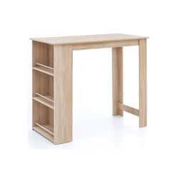 FINEBUY Bartisch SuVa13573_1, Bartisch 120 x 60 cm Stehtisch Holz Küchenbartisch Bartresen mit integriertem Regal Tresentisch mit Bar Tresen Küchen Tisch