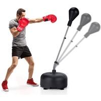 COSTWAY Punchingball Boxsack Set, Standboxball, Box Set, 140-158cm höhenverstellbar, mit befüllbarem Ständer, inkl. Boxhandschuhe schwarz