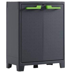 Keter Moby Kunststoffschrank, niedrig, anthrazit/grün/grau, 80 x 44 x 100 cm