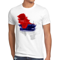 style3 Print-Shirt Herren T-Shirt Flagge Serbien Fußball Sport Serbia WM EM Fahne weiß XL