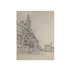 Kayoom Öl-Wandbild Menschenmenge I 100cm x 75cm , ca. 3,8cm (L/T) x 75cm (B) x 100cm (H)