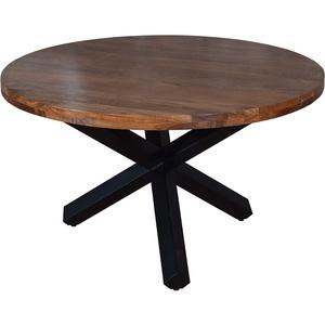 SAM Runder Esszimmertisch 130 cm Runa, Akazienholz massiv, Esstisch nussbaumfarben, Sternfuß aus Metall Schwarz, aufgedoppelte Tischplatte 50 mm