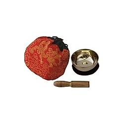 Klangschale (170 g) mit Unterlage  Klöppel und Beutel (rot)