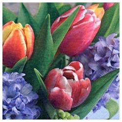 Linoows Papierserviette 20 Servietten Tausend Frühlingsgrüße mit Tulpen &, Motiv Tausend Frühlingsgrüße mit Tulpen & Hyazinthen