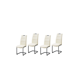 HTI-Line Freischwinger Schwingstuhl 4er Set PU creme DannyP (4 Stück), Schwingstuhl