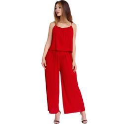 Egomaxx Jumpsuit 3239 Damen Jumpsuit Chiffon plissee rot L/XL