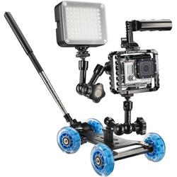 Walimex Dolly Action Set Gopro I (Actionkamera, 2kg), Gimbal, Blau, Schwarz