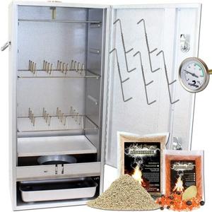 Angel Berger Premium Räucherofen hochwertiger Räucherschrank mit viel Räucherzubehör Smoker (Angel Berger Premium Räucherofen mit Gasheizung 2500W)