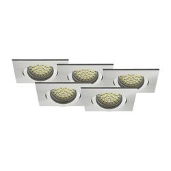 LED Einbaustrahler 5er-SET MR16, GU5.3 warmweiß, eckig 5W Marken-LEDs