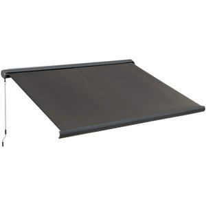 Outsunny Elektrische Markise mit Fernbedienung Handkurbel Vollkassettenmarkise Gelenkarmmarkise Sonnenschutz Balkon Dunkelgrau 3x2,5m