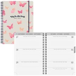 BRUNNEN Schülerkalender Butterfly Juli 2021 - Dezember 2022 weiß/rosa
