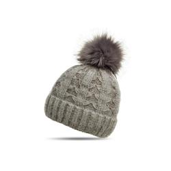 Caspar Bommelmütze MU144 Damen warme Winter Strick Mütze mit Fellbommel grau