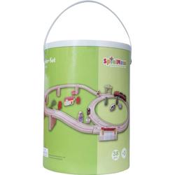 SpielMaus Holz Holzeisenbahn in Trommel 38-teilig