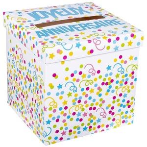Boland 31032 - Geldbox Joyeux Anniversaire, Größe 20 x 20 cm, Spardose, Geldgeschenk, Geschenkkarton, Geburtsta, Party