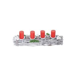 MCW Adventskranz T783-L, Mit 4 Kerzenhaltern, Aufwendig geschmückt weiß