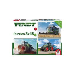 Schmidt Spiele Puzzle Kinderpuzzleset 3 x 48 Teile, Traktor Fendt 1050, Puzzleteile