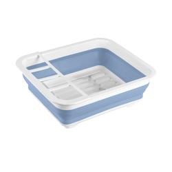 Geschirrabtropfständer faltbar Blau/Weiß ¦ blau ¦ Kunststoff