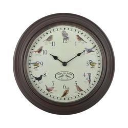 esschert design Wanduhr Uhr mit Vogelgezwitscher Ø30 cm