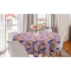 Abakuhaus Tischdecke Kreis Tischdecke Abdeckung für Esszimmer Küche Dekoration, Regenschirm Bunte Regen-Sonnenschirme