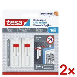2x Klebenagel für Tapete und Putz 77774 weiß, tesa