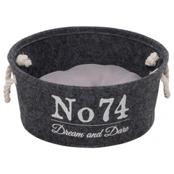 D&D Hundekorb Home Collection Felt Vat grau, Maße: 40 x 40 x 15 cm