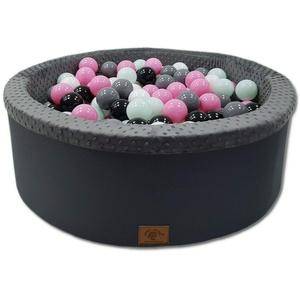 Odolplusz Bällebad 90x30 cm ∅ 7Cm | Bällepool für Baby mit 200 bunten Bällen Rund, viele Farben zur Auswahl (Graphit - Mädchen)