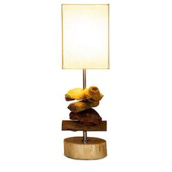 Levandeo® Nachttischlampe, Tischlampe 15 x 50 x 15 cm Treibholz Tischleuchte Holz Lampe Teakholz Deko