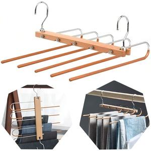 Hosenbügel Platzsparend,5in1 rutschfeste Buchenmetall Hosenbügel,Hosenbügel Kleiderbügel,für Schals Jeans Hosen Krawat