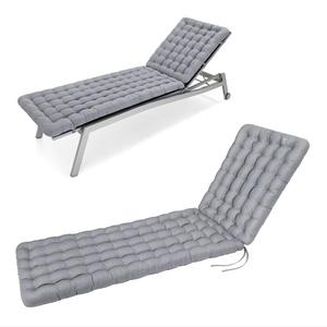 HAVE A SEAT Luxury - Liegenauflage, Auflage Gartenliege (Hellgrau, Grau) 200 x 60 cm, 8 cm dick, waschbar bei 95°C, Trockner geeignet, Bequeme Polsterauflage für Sonnenliege, Liegestuhl, Relaxliege