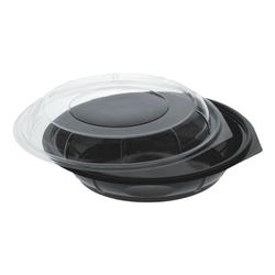 Einweg-Salatschalen 800 ml mit Deckel, 35 Stück schwarz, Papstar, 22.1x6.2x22.1 cm