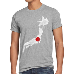 style3 Print-Shirt Herren T-Shirt Flagge Japan Fußball Sport Nihon WM EM Fahne grau 4XL