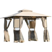 Outsunny Gartenpavillon 3,00 x 3,00 m beige/braun