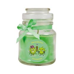 HS Candle Duftkerze (1-tlg), Karneval - Fasching Kerze im Bonbon Glas, Kerze mit Karneval's - Motiv grün Ø 7 cm x 7 cm x 10 cm