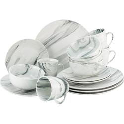 CreaTable Kombiservice Marmor, (Set, 16 tlg.), tolle Optik weiß Geschirr-Sets Geschirr, Porzellan Tischaccessoires Haushaltswaren