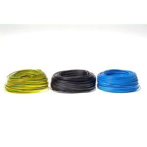 Verdrahtungsleitung H07V-K 10 mm2 Set 20 Meter Schwarz je 5 m Grüngelb, Blau + 100 Aderendhülsen