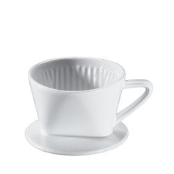 Cilio Kaffeefilter, weiß, Weiß glasierter Filter aus Keramik mit einem Loch, Durchmesser: 9,5 cm