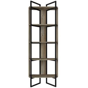 moebel17 Standregal Bücherregal Costa mit Metallfüße und Rahmen Eiche, Mit Metallrahmen und 5 Regalablagen