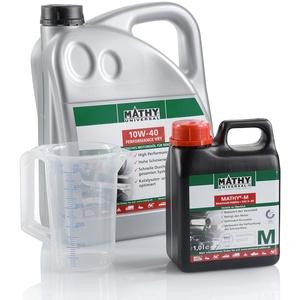MATHY Motorenöl-Wechsel-Set (SAE 10W-40 Performance VX1 Motorenöl) + 1 Liter M Motorenöl-Additiv + 500 ml Messbecher gratis