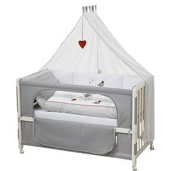 Beistell- und Kinderbett komplett, 60 x 120 cm, Room Bed Adam & Eule, weiß grau